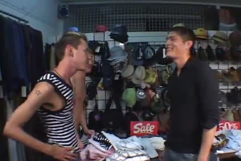 naked three some in a underwear shop