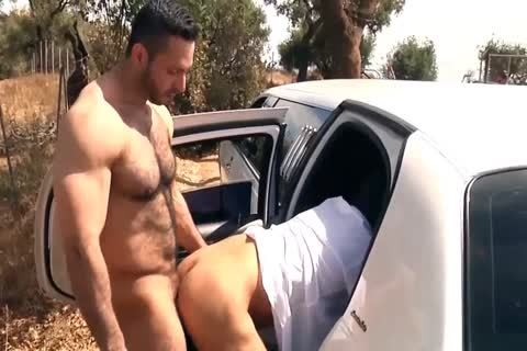 juicy brawny guy receives covered In sperm In The Car