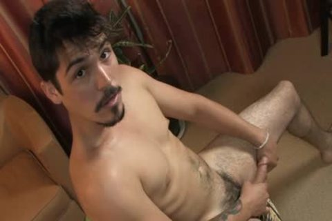 Goatee straight lad pounds dildo And Jerks Off