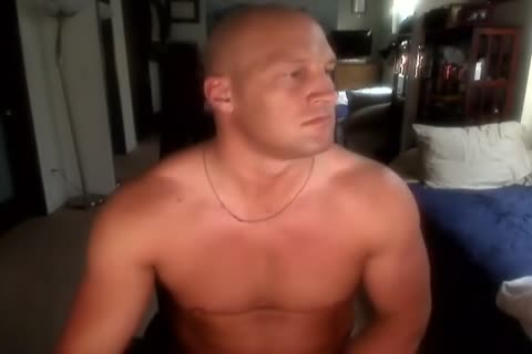 Bald Muscle man jerking off And filthy sex semen shot