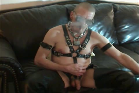 Smoking And Having Some Intense teat Play In My Leather Gear And Boots And Slapping My fastened Up penis Around!!!