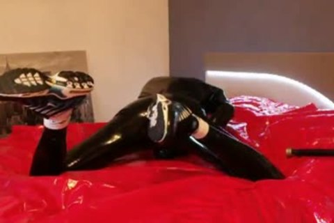 young wanking In darksome Latex moist Very Very large penis