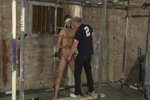 Restrained nude For Caning sextoy And Cumming