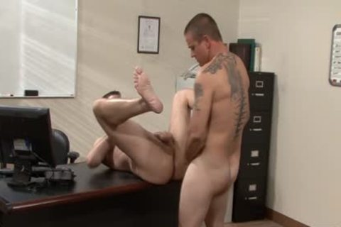 Tattooed homosexual studs drilling In The Office