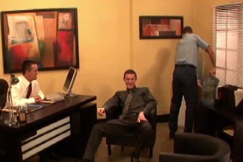 raunchy homosexual guys fucking In three-some At Work