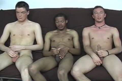 Interracial homo 3some engulfing & wanking