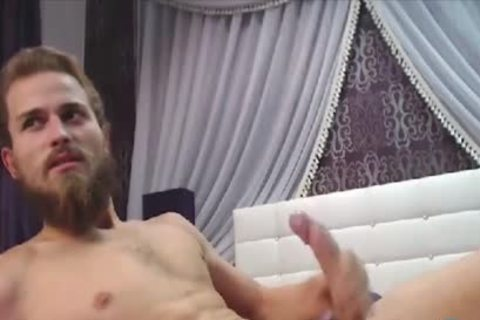 Bearded dude With A gigantic Uncut Curved knob Cums