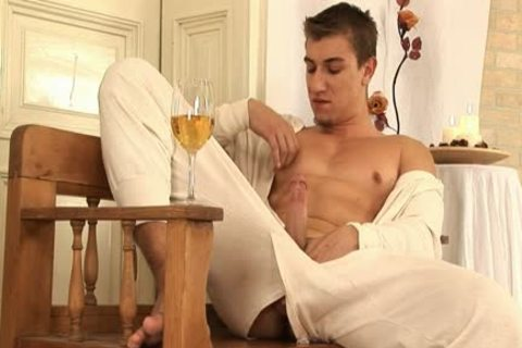 This handsome homosexual chap Comes Home And Drinks Some Wine before His Has A Sensual Self Devotion Session