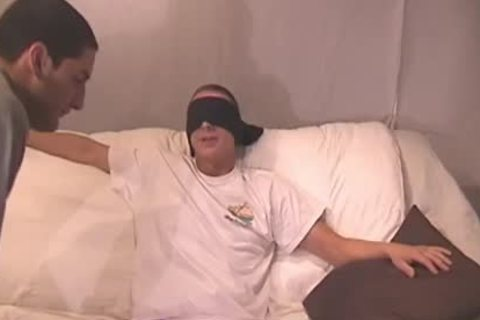 Blindfolded teen acquires His weenie Sucked