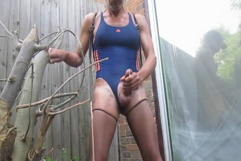 Outdoor cum In Swimsuit And hose