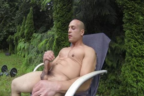 lovely Bald Muscle man Shows Off His 9-inch Sausage