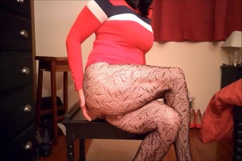 SL4UA Holly Cums Hard In Red dress Patterned nylons