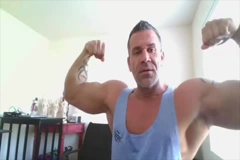 Bodybuilder On web camera