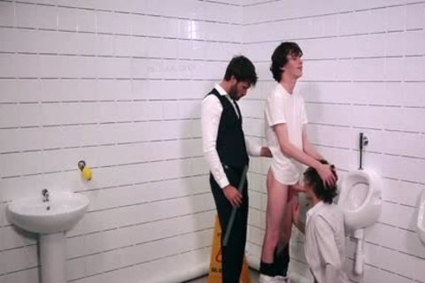 three-some With The Teacher In The School's Restroom