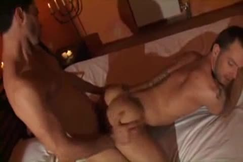 brutaly bareback pounding With Two brawny Youngsters