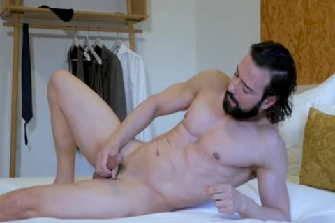 horny Suited lad stroking & butthole Play