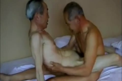 Two pretty And lewd Japanese grandpa's hammer And engulf!