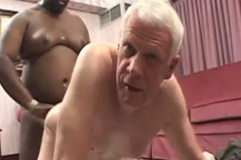 Senior drilled By chubby dark Younger chap