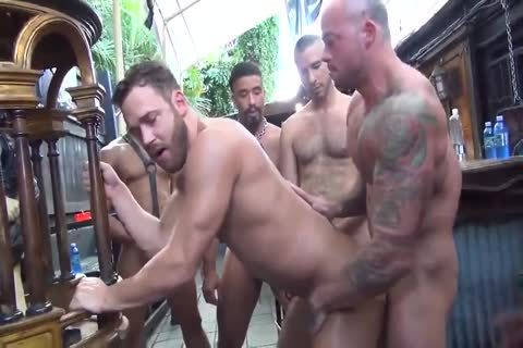 MusclePup Logan Moore receives group gangbanged Barebacked plow