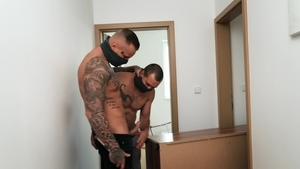 Black haired Ryan Cage bareback anal sex indoor