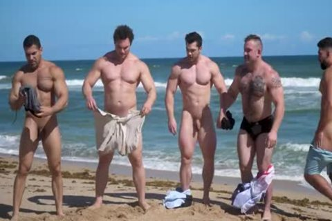Muscle guys naked Beach